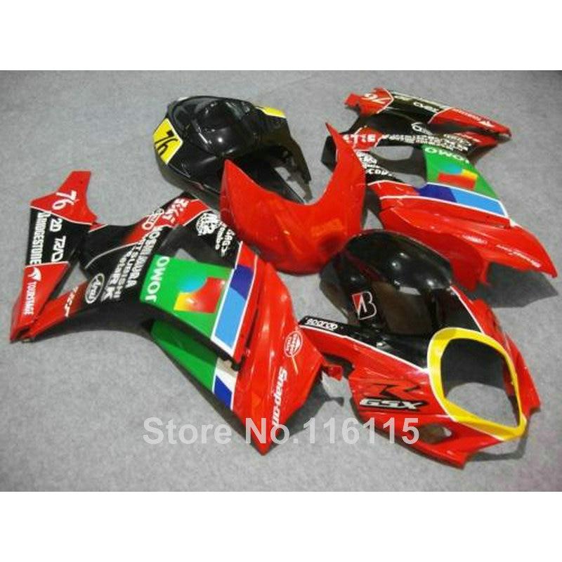 Motorcycle fairing kit for SUZUKI GSXR 1000 K7 K8 07 08 GSXR1000 2007 2008 green red JOMO ABS plastic fairings set JS30