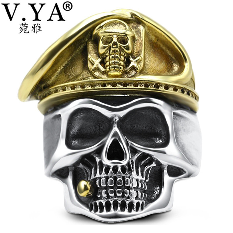 V.YA Vintage 925 Sterling Silver Rings Men Adjustable Soldier Ring Male Mens Skeletons Skull Jewelry Best Gift hot sell new free shipping 925 sterling silver soldier boluomiduo theheart sutra scripture ring mens