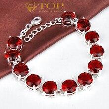 Shipping-mejor vendedor de elegantes cristales de color rojo granate pulsera para las mujeres joyería de la boda de la boda B0909