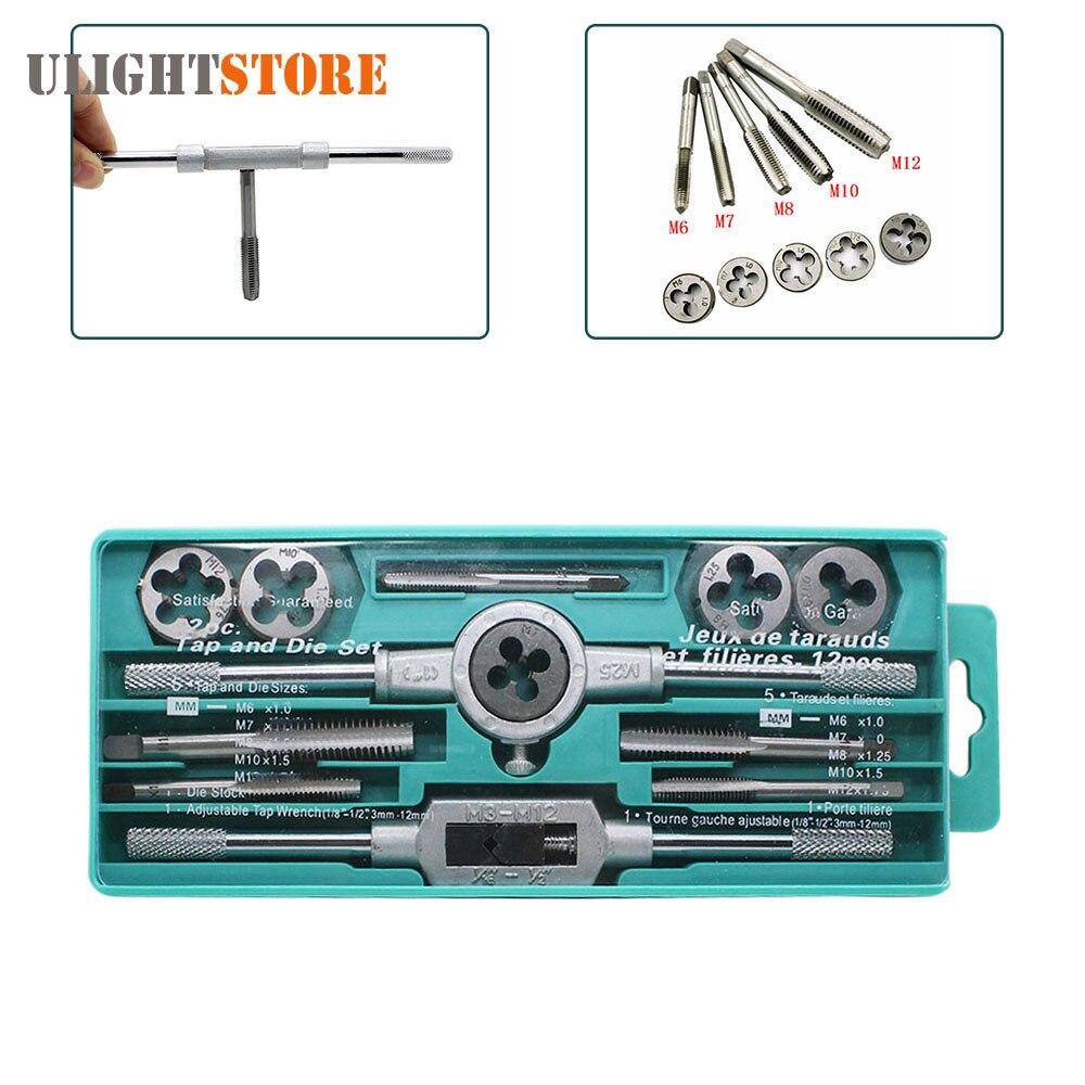 12pcs Hand Taps Metric Handle Tap and Die Set M3-M12 Adjustable Wrench Screw Thread Plugs Straight Taper Drill Repair Tool Kits 20pcs m3 m12 screw thread metric plugs taps tap wrench die wrench set