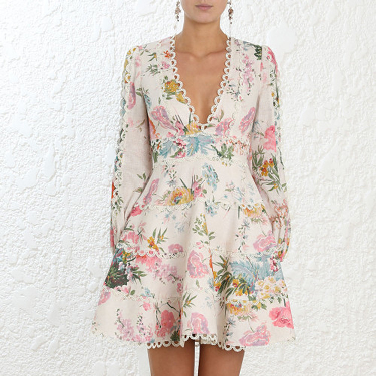 Runway Zim Designer Dress 2018 Women High Quality Elegant V neck Lantern Sleeve Floral Printed Lace Patchwork A line Mini Dress in Dresses from Women 39 s Clothing