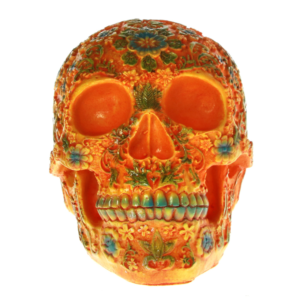 Mexican Day Of The Dead Floral Carved Skull Head Resin Figurine Dia De Los Muertos Orange Sugar Flower Skull Halloween Sculpture