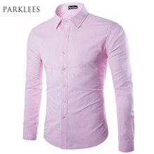 d234014c6 العلامة التجارية الوردي قميص الرجال قميص أوم تصميم الأزياء طويلة الأكمام  صالح سليم رجل الأعمال اللباس