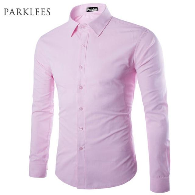 Camisa rosa de marca para hombre Chemise Homme Diseño de Moda de manga  larga ajustada Fit ffc37279e45
