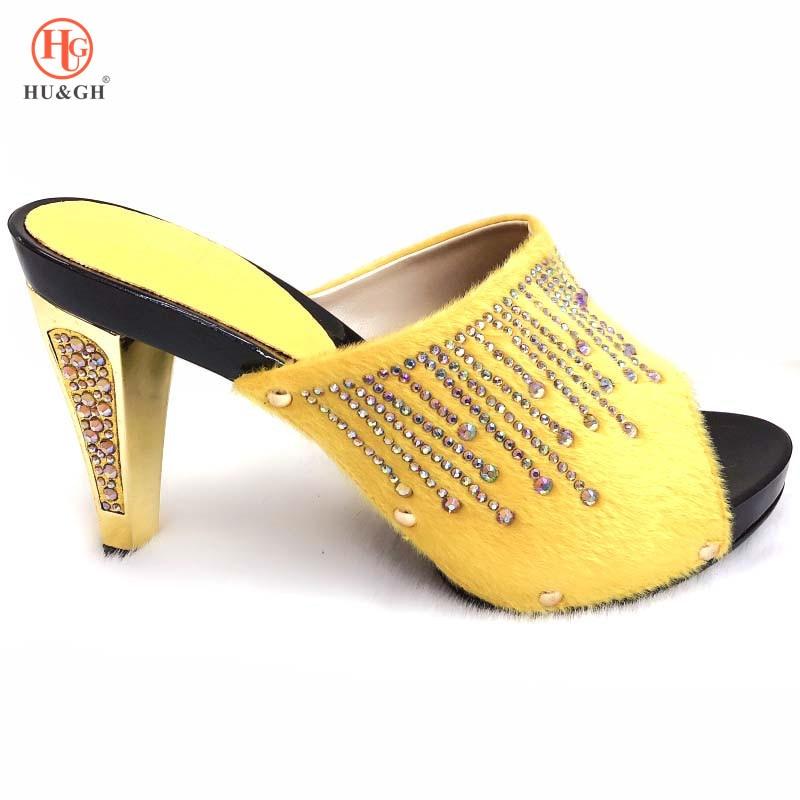 Latest Yellow Color Slipper Elegant Italian Women Sandals Shoe