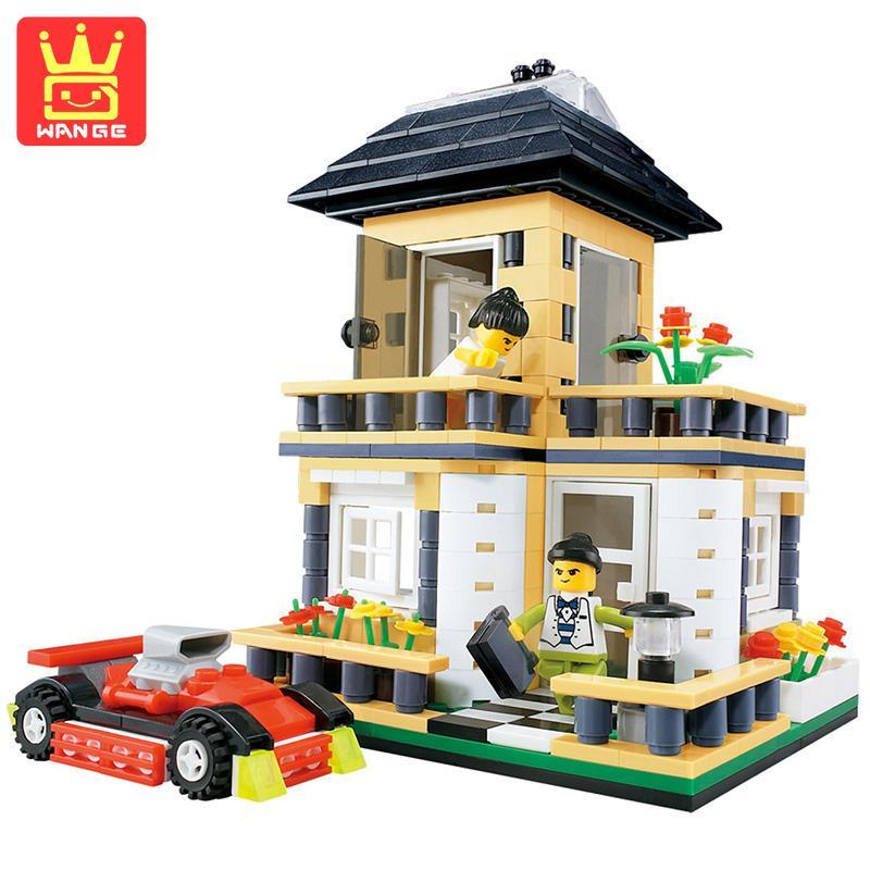 WANGE Villa House Blocks Sets Models Building Bricks Kits 405 Pcs 2017 Classic Educational Toys For Kids Action Gifts