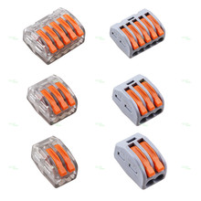 Free Shipping Wago Type Wire Connector 222 Series 10PCS Cage Spring Universal Fast Wiring Conductors Terminal Block