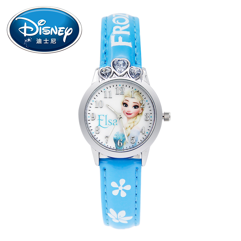 Disney Kids Watch Children Watches Princess Elsa Crown Snow Genuine Brand Fashion Cute Wristwatches Leather Strap Gift Clock disney kids watch children watches princess elsa crown snow genuine brand fashion cute wristwatches leather strap gift clock