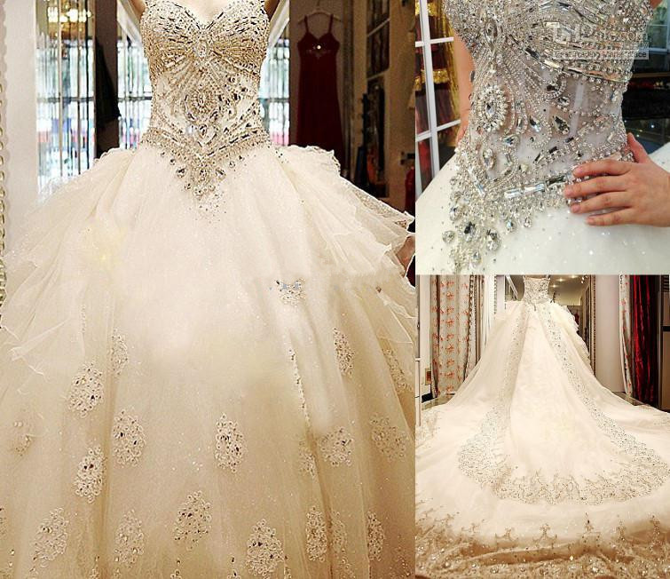 Wedding Gowns With Swarovski Crystals: 2015 Luxury Vintage Wedding Dresses Beads Cathedral Train