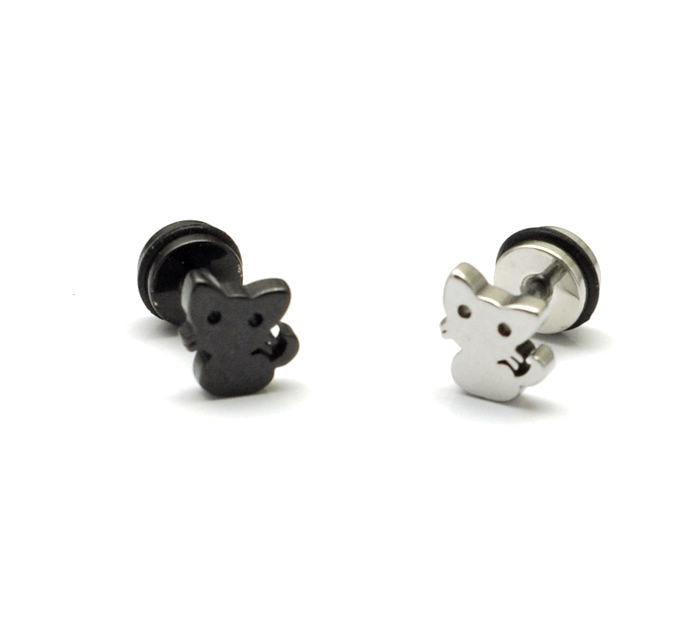Kitten titanium stud earring cartoon style stainless steel earrings stud earring 2251 earrings