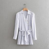 Autumn New Arrival Striped Blue White Button Belt Blouse Fashion V Neck Turn Down Collar Shirt Elegant Long Sleeve Women Tops