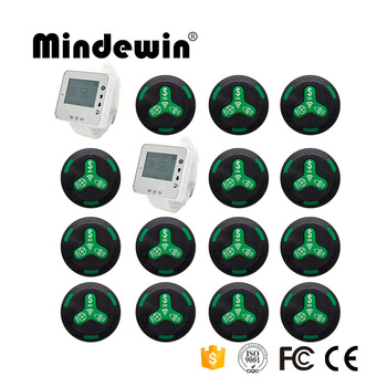 Mindewin 2017 New Type Restaurant Equipment 15pcs Call Button + 2pcs Watch Receiver Pager Wireless Waiter Call System
