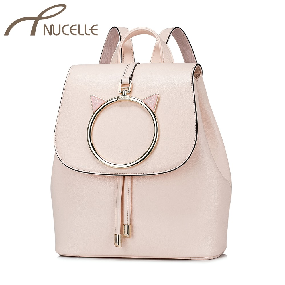 NUCELLE Women s PU Leather Backpack Ladies Fashion Cat Ears Daily Shoulder School Bag Ladies Brief