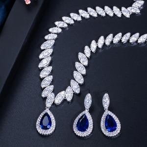 Image 3 - Pera CZ Luxury Bridesmaid Accessories Cubic Zirconia Stone Big Bridal Wedding Pera Cut Dropping Jewelry Sets For Women J048