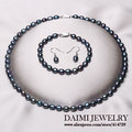High Quality Pearl Jewelry Sets Fashion Black Rice necklace 925 Sterling Silver Earrings Pearl Jewelry .