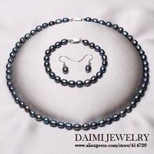 Perla de la alta Calidad Sistemas de la Joyería de Moda collar 925 Pendientes de Plata Esterlina Joyería de Perlas de Arroz Negro.