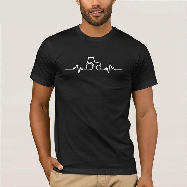 T-shirt 2019 Pakaian Slim Fit Sablon Kaos Traktor Detak Jantung Pulse Pertanian Petani Pertanian Lelucon T Shirt