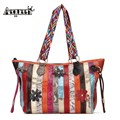 AEQUEEN New Genuine Leather Women Handbags Patchwork Striped With Flower Shoulder Bag Ladies Totes Vintage Hand Bag Ramdon Color