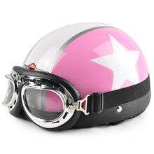 2016 women Open Face Half pink Motorcycle Motorbike Helmet & Goggles & Visor Motocross Capacete Moto Helmet