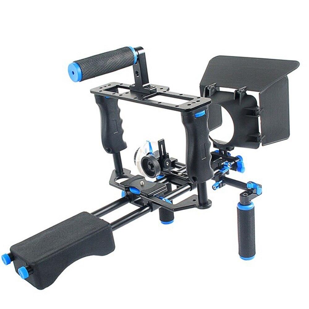 YELANGU profesional DSLR Rig hombro estabilizador cámara de vídeo soporte jaula/caja mate/seguir el enfoque para cámara Canon Nikon Sony - 2