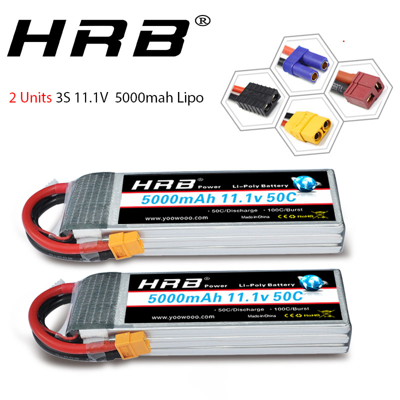 2 unités HRB Lipo 3S 5000mah RC batterie 11.1V 50C XT60 Deans connecteur pour Traxxas x-maxx trx4 défenseur 1:10 1:12 voitures hélicoptère