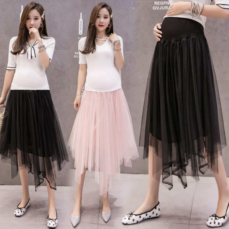 New Spring Irregular Mesh Maternity Skirts Fashion Casual Care Belly Mid-calf Skirt High Waist Solid Color Pregnancy Clothes