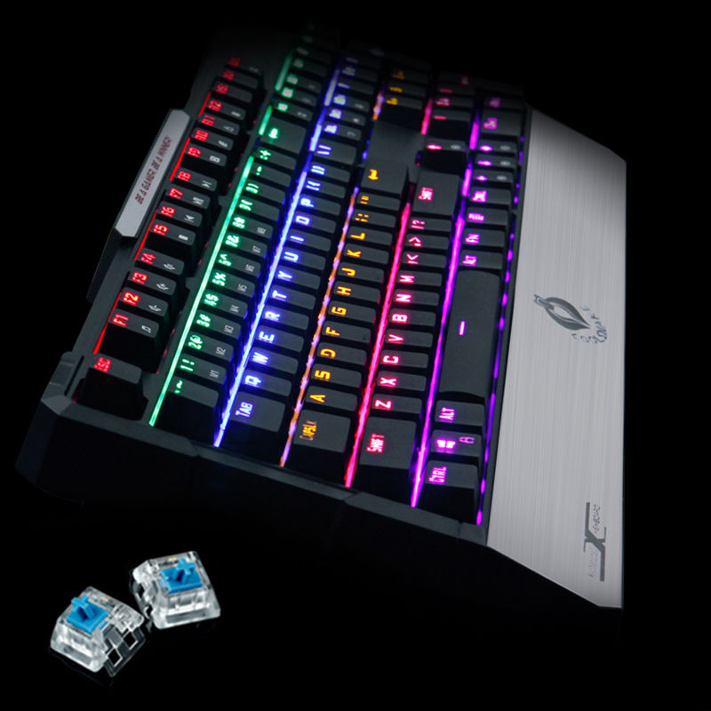 все цены на 104 Keys XK5-6 Mixed LED Backlit Ergonomic illuminated Keyboard Wired Usb Multimedia Mechanical Gaming Keyboard Game Blue Switch онлайн