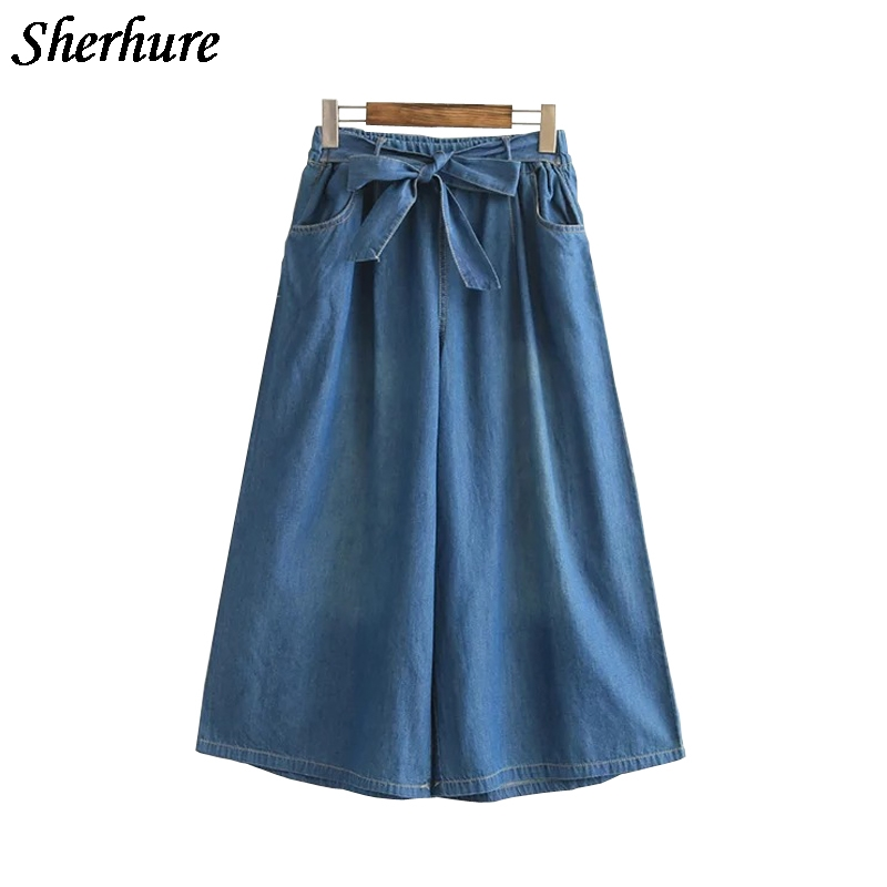 2018 New Women Pants Vintage Solid Denim Pants Elastic High Waist Women Jeans Pants Wide Leg Female Loose Trousers Pantskirt