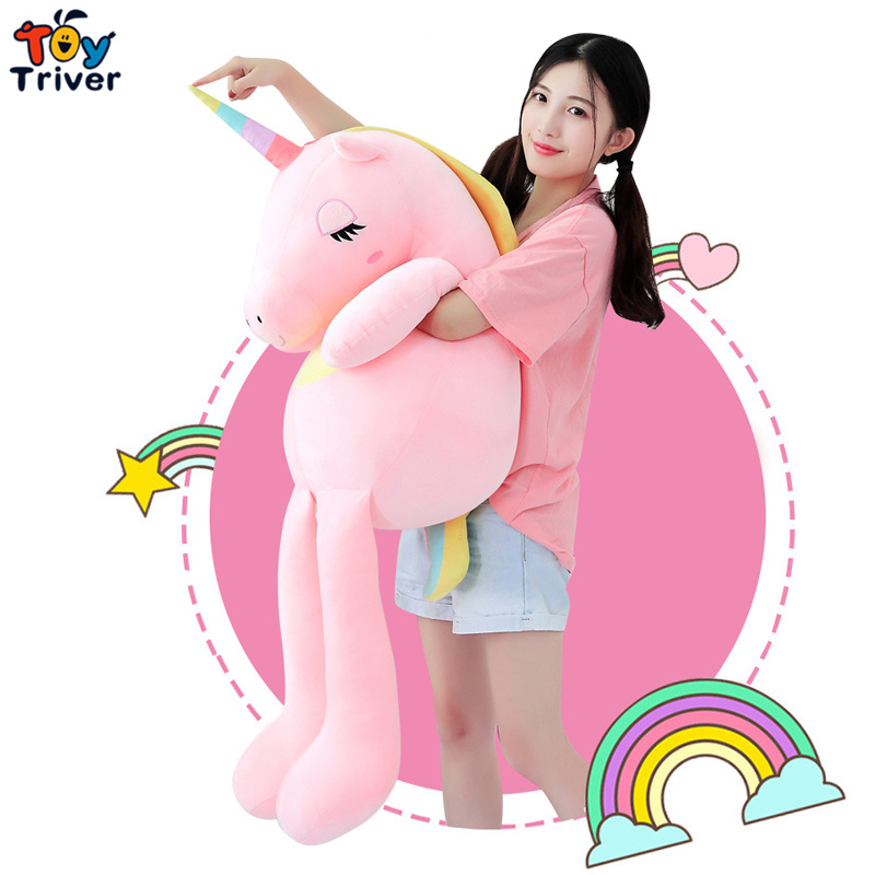 110cm Plush Unicorn Horse Toy Stuffed Animal Baby Kids Girl Gift Children's Appease Toys Sofa Pillow Cushion Bolster Home Decor недорго, оригинальная цена