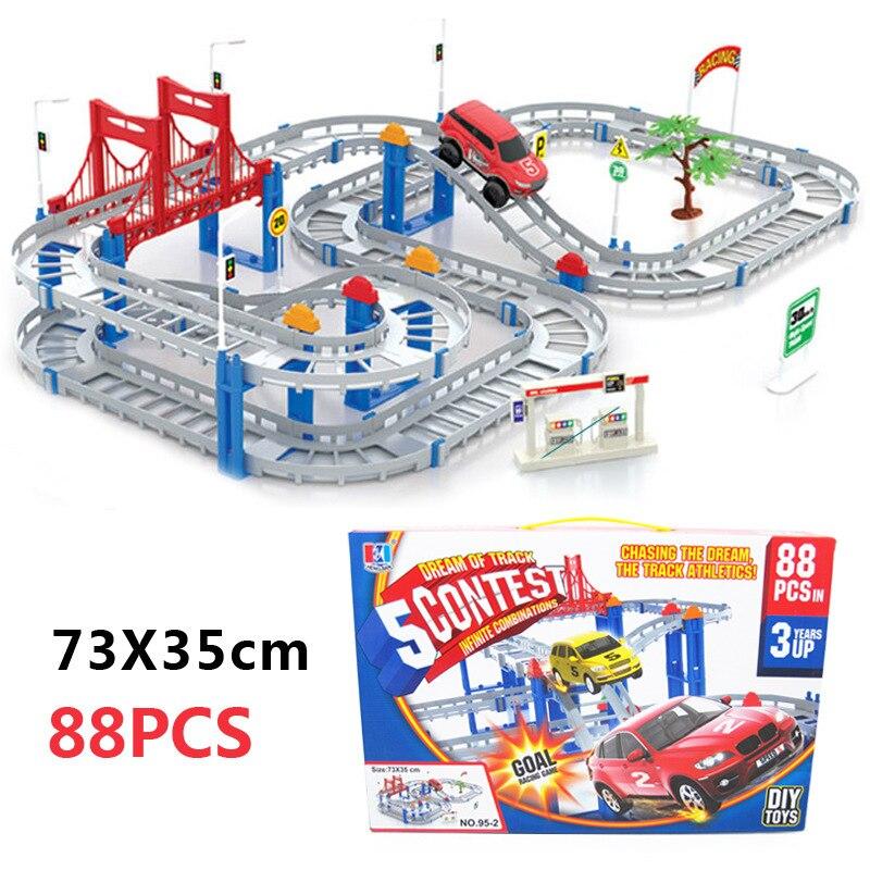 Electricidad track car toys niños asamblea educativa toys diy pista de coches de