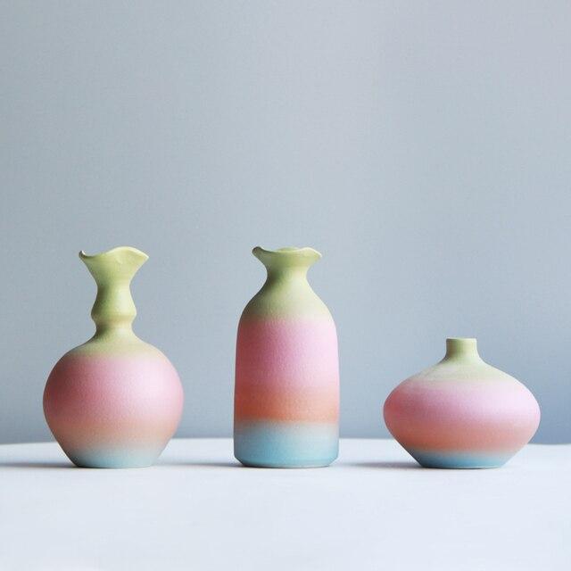 Modern Rainbow Prints Vase Colorful Ceramic Flower Vase 6 Design Desktop Mini Vase Home Decorative Centerpiece 5