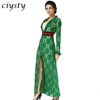 Ciysty 2017 Paris Fashion Show Green Lace Long Dress Vestidos Sexy V neck Front Zip Long Sleeve Formal Party Dress New Arrival