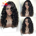 Fashion! Pretty Women Wigs Black Hair Synthetic Lace Front Wig With Bangs For Black Women No Tangle No Shedding 180 Density Hair