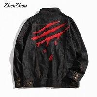 2017 Autumn Winter Jacket Men Bomber Jackets Fashion Print Outwear Male Cowboy Denim Jacket For Men