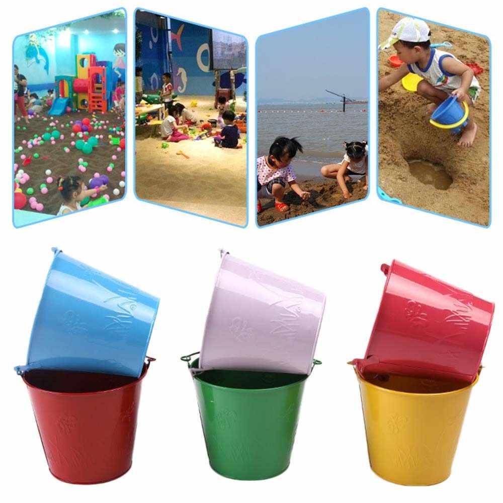 1 Cubo de playa para niños, para jardinería, baño galvanizado, hierro, juego, barril de arena, ducha de bebé de juguete, arena, arena para jugar al aire libre, agua para jugar