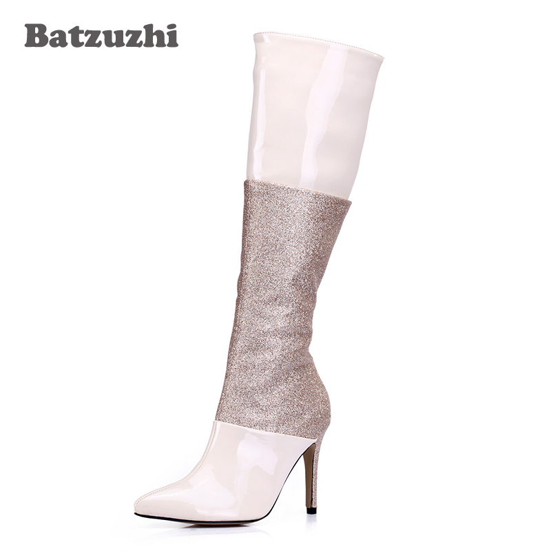 Batzuzhi-9.7cm Luxury Women Boots Pointed Toe Zip Knee High Boots Women Slim Glitter Party Sexy Women Shoes Boots Designer Shoes