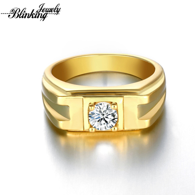 Mens Ring Gold Color Rings For Men Round Brilliant Cut Solitaire Cubic Zircon Wedding