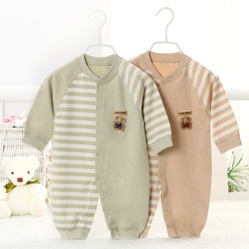 2015 Brand 100% Pure Natural Organic Cotton Baby Clothes,Soft Unisex Striped Long Sleeve Infant Rompers For Boy and Girl YJM101 pure and natural 250 1090415