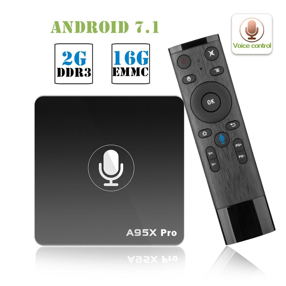 Image 3 - A95X PRO TV Box Amlogic S905W 2GB RAM 16GB ROM Media Player 2.4G WiFi Support Youtube 4K HD 3D TV Android 7.1 Voice Control Box-in Set-top Boxes from Consumer Electronics