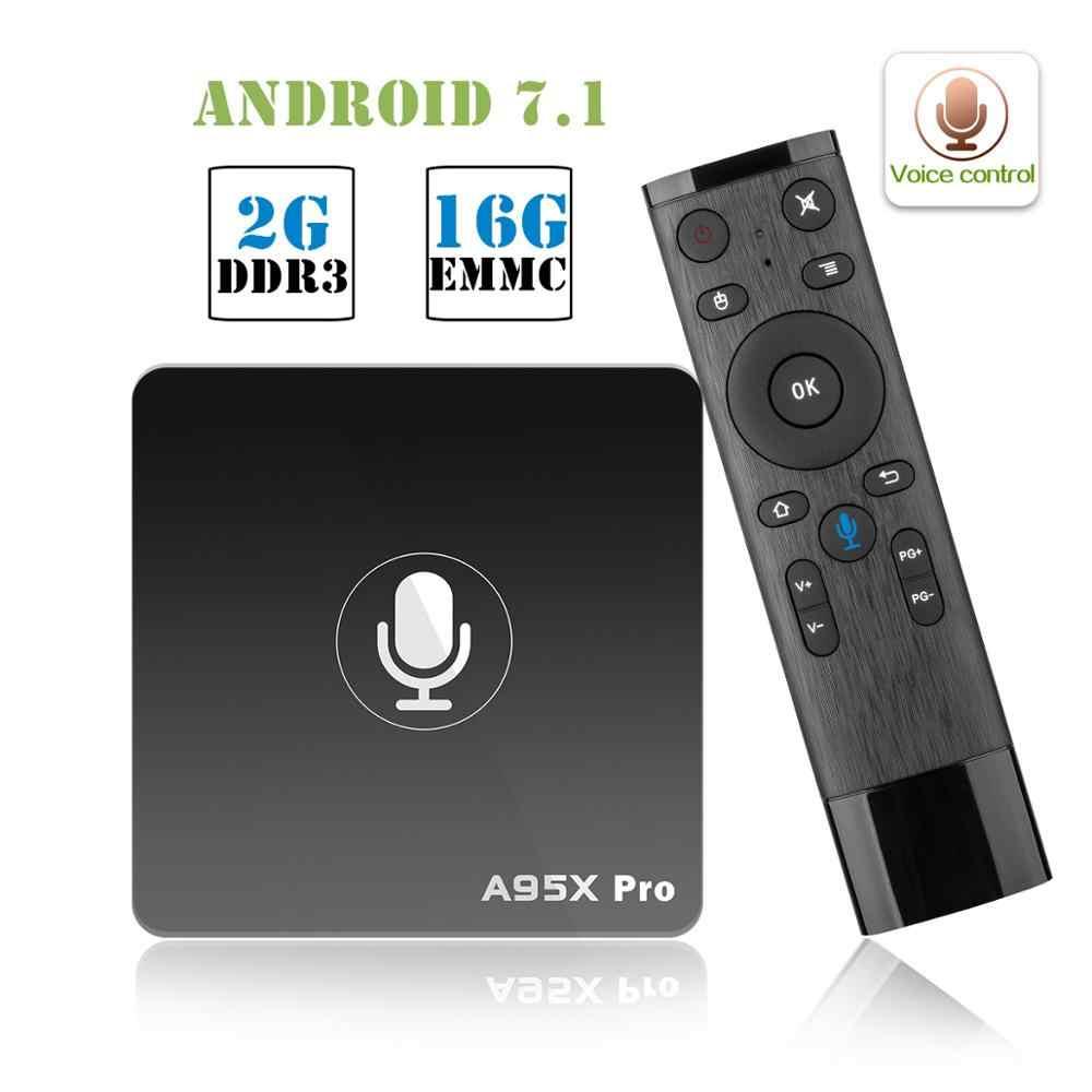 A95X PRO tv Box Amlogic S905W 2 Гб ОЗУ 16 Гб ПЗУ медиаплеер 2,4 г WiFi поддерживает YouTube 4K HD 3D tv Android 7,1 Голосовое управление