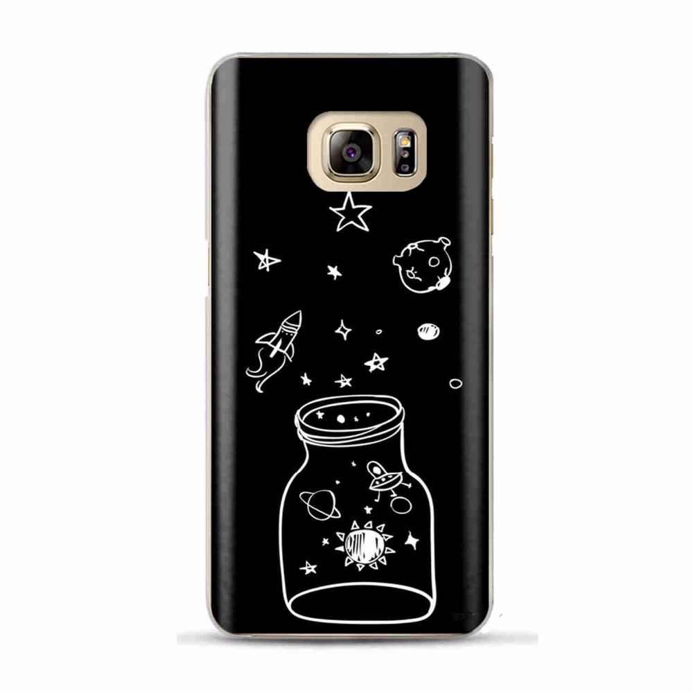 ブラックホワイトムーン星宇宙飛行士ケースカバー三星銀河s6 s7エッジs8 s9プラスj3 j5 j7 a3 a5 a7 2016 2017 a8プラス