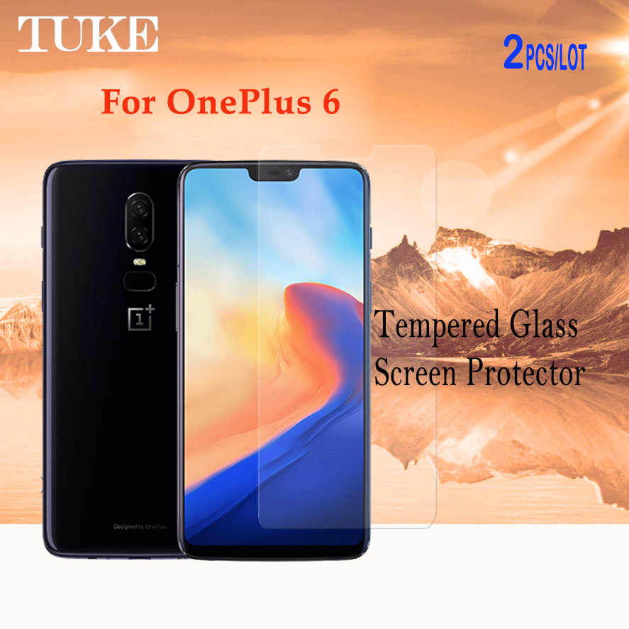 TUKE 2pcs/lot Screen Protector For Oneplus 6 Tempered Glass For One plus 6 Oneplus6 Film With Retail Package With Retail Package