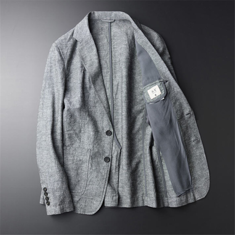 Casual Blazer Man New Linen Suit Jacket Autumn Slim Elegant Thin Single Breasted Male Blazers Spring Ds502