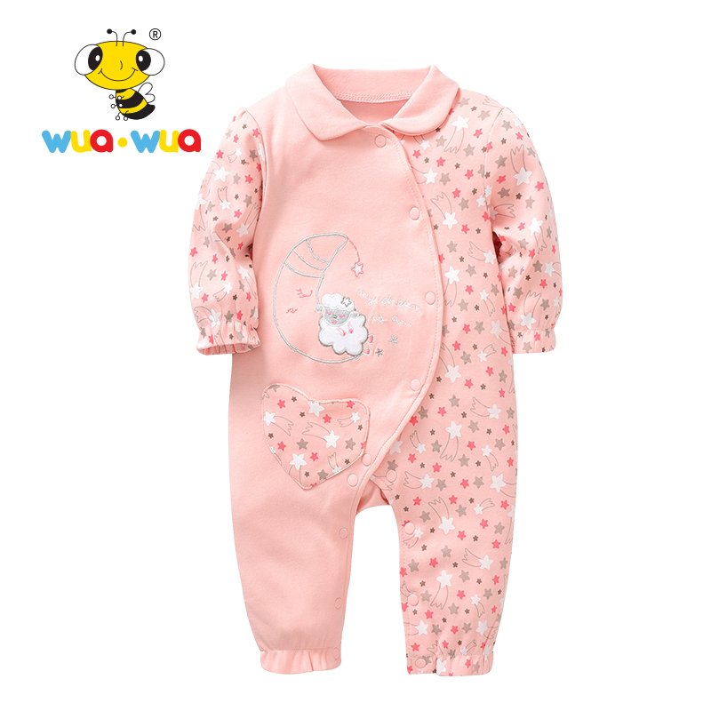 Rompers Baby girl Clothes  baby infants Cotton Newborn Clothing jumpsuit full Sleeve o-neck sheep print pink Wua wua AT17110 newborn baby rompers baby clothing 100% cotton infant jumpsuit ropa bebe long sleeve girl boys rompers costumes baby romper