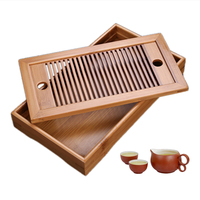 1pc Portable Bamboo Tea Tray Chinese Gongfu Tea Trays Table Drainage Water Holder Home Supplies 25*14*3.5cm