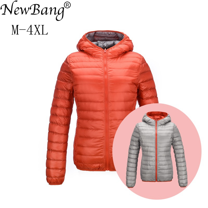 NewBang Brand Down Coat Women Ultra Light Down Jacket Women Feather Jackets Double Side Reversible Lightweight windproof Coats