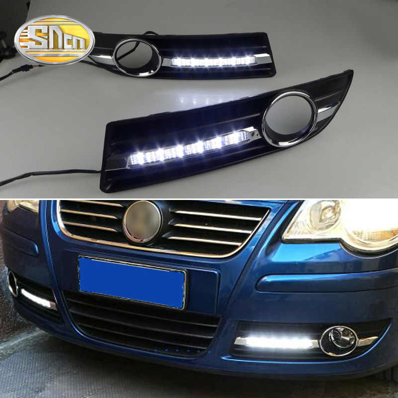 For Vw Volkswagen Polo 2005 2006 2007 2008 2009 2010 LED Daytime Running Lights bumper fog lamp cover