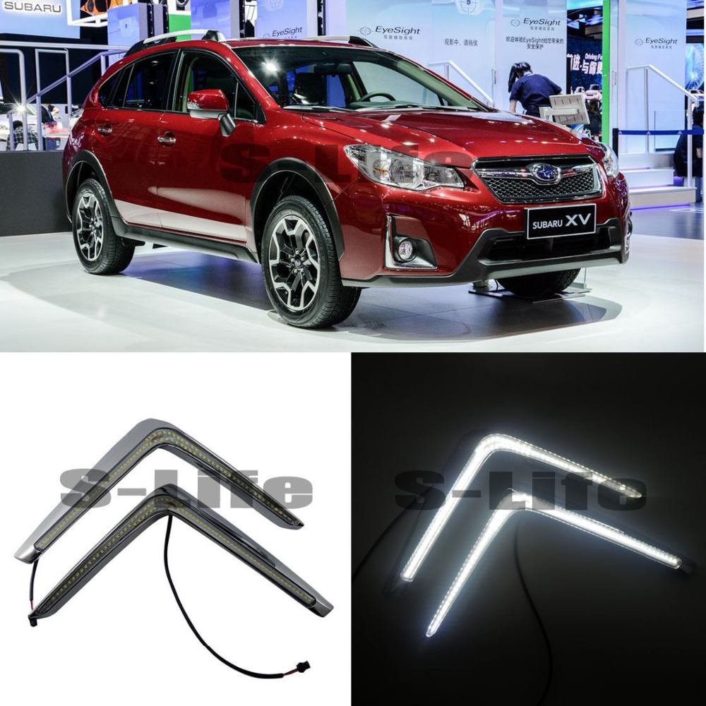 LED Daytime Running Lights DRL for Subaru XV 2016~2018, LED Front Bumper Fog Lamp for opel astra h gtc 2005 15 h11 wiring harness sockets wire connector switch 2 fog lights drl front bumper 5d lens led lamp