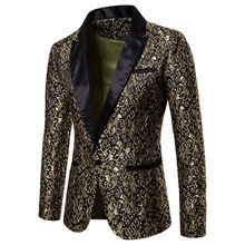 スリムフィットブレザー男性 2018 新到着メンズ花ブレザー花ウエディングドレスブレザーエレガントな結婚式のブレザーとスーツのジャケット男性ブレザー
