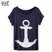 Dotfashion Women Anchor Print Rolled Short Sleeve Tops Summer Style Tees Women 2016 New Casual Crew Neck T-shirt